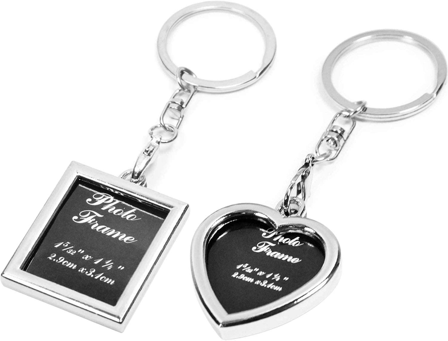 Onwon 2 Pieces Photo Frame Keychain Metal Frame Key Chain Ornament Locket Picture Frame Keyring Heart Apple Circle Oval Oblong Square Rectangle Family Lover Friend Keepsake Gifts (Heart & Rectangle)
