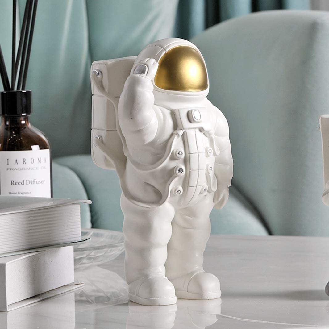 GEPIJPGEKH White Astronaut Model Figure Phone Holders Cosmonaut Statue Space Man Sculpture Fashion Creative Home Decor Ornaments