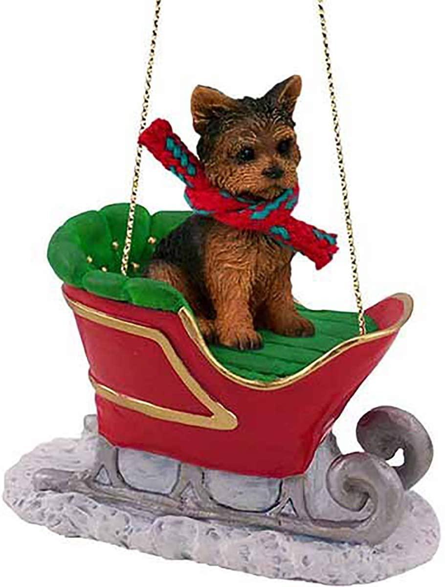 Conversation Concepts Yorkshire Terrier, Puppy Cut, Sleigh Ride Ornament
