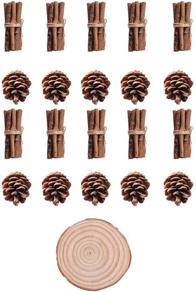 Cabilock 21pcs Pine Cones Pinecones Craft Sticks Mini Wood Log Wood Slices Rounds for Crafts Christmas Wedding Party Ornaments Rustic Home Farmhouse Centerpiece Decor Twigs Decor