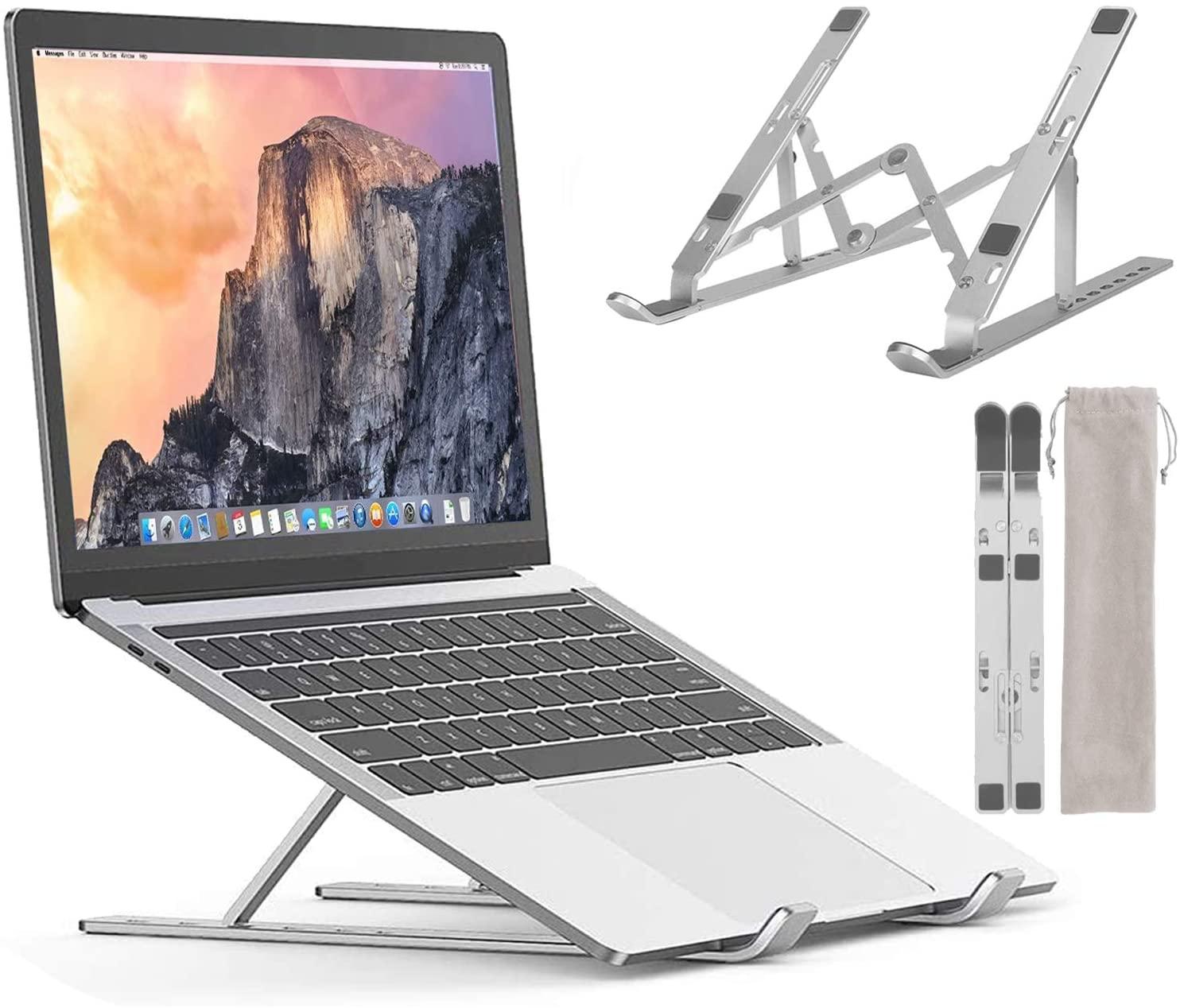 "Laptop Stand for Desk, Portable Computer Stands, Aluminum Adjustable Desktop Holder Ergonomic Foldable Notebook Tablet Riser Compatible with MacBook, iPad, HP, Dell, Lenovo, More 10-15.6"" Laptops"