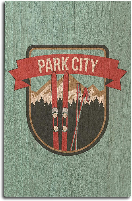Lantern Press Park City, Utah - Skis and Mountains - Contour (10x15 Wood Wall Sign, Wall Decor Ready to Hang)