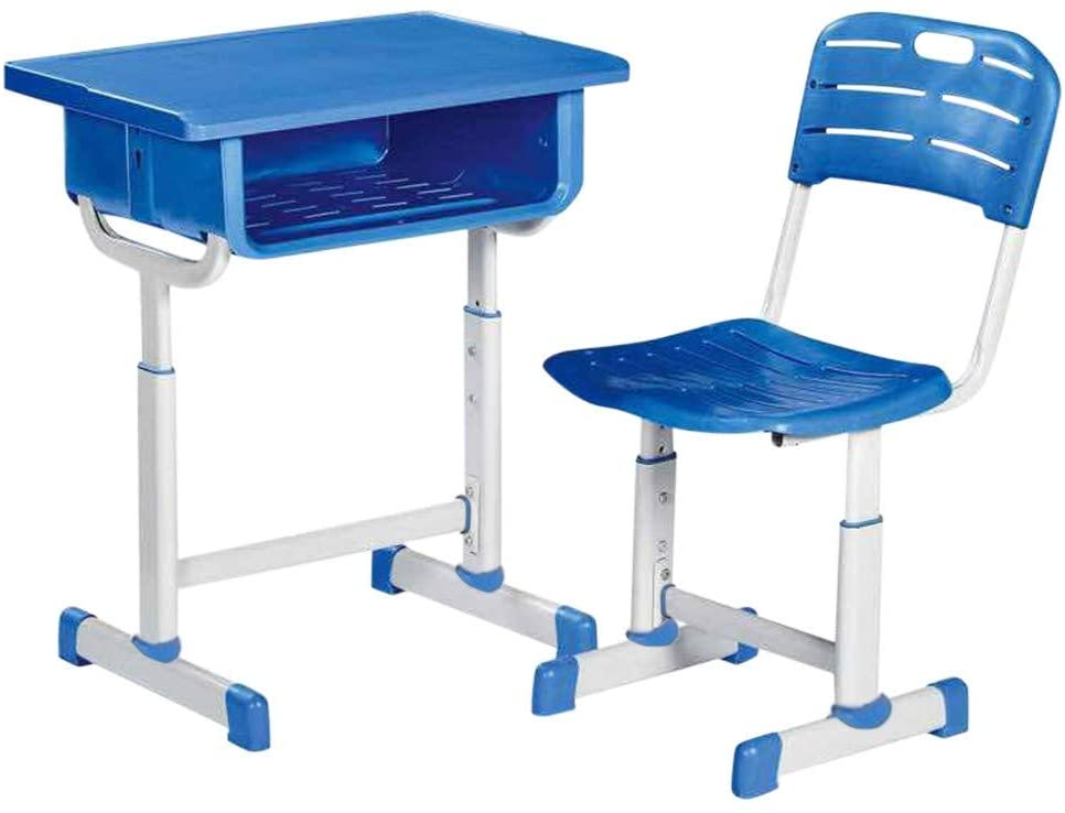 nikunLONG Kids Desk and Chair Set Children Study Table Back to School Interactive Workstation Ergonomic Design School Students Writing Table and Chair Set(Blue,14kg)
