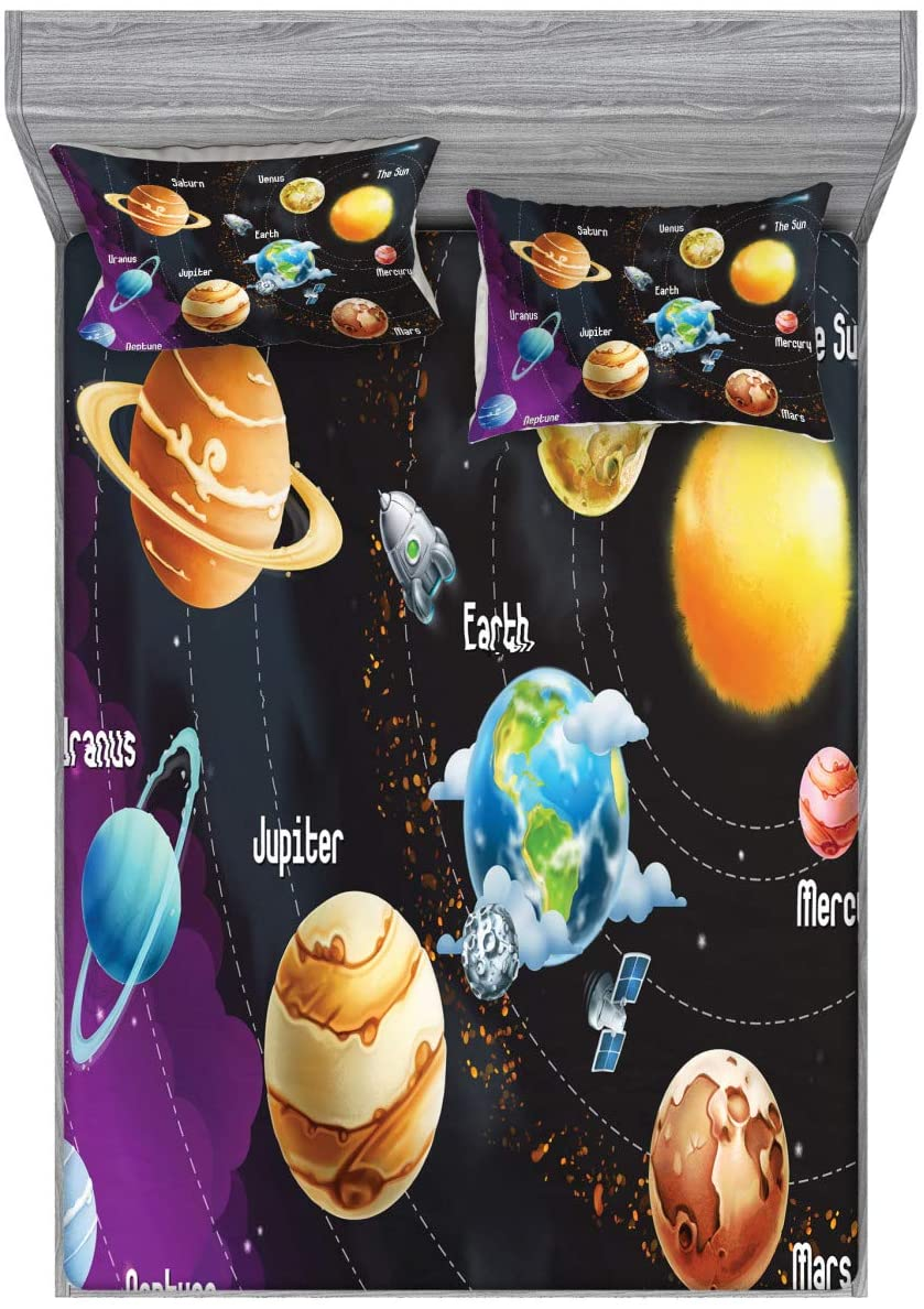 Ambesonne Outer Space Fitted Sheet & Pillow Sham Set, Solar System of Planets Milky Way Neptune Venus Mercury Sphere Illustration, Decorative Printed 3 Piece Bedding Decor Set, Queen, Purple