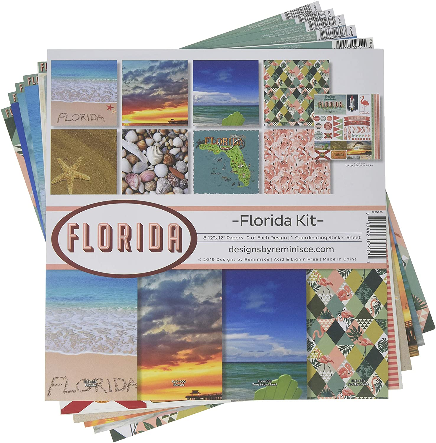 Reminisce Florida Scrapbook Collection Kit, Multi Color Palette