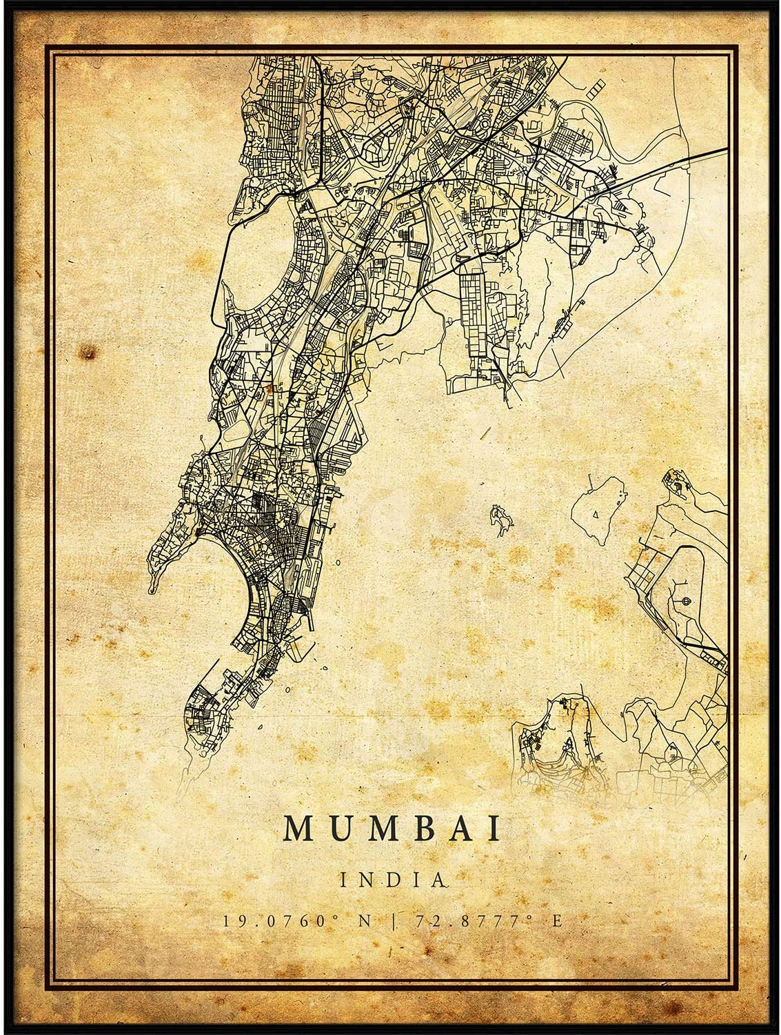 Mumbai map Vintage Style Poster Print | Old City Artwork Prints | Antique Style Home Decor | India Wall Art Gift | Old map Art 24x36