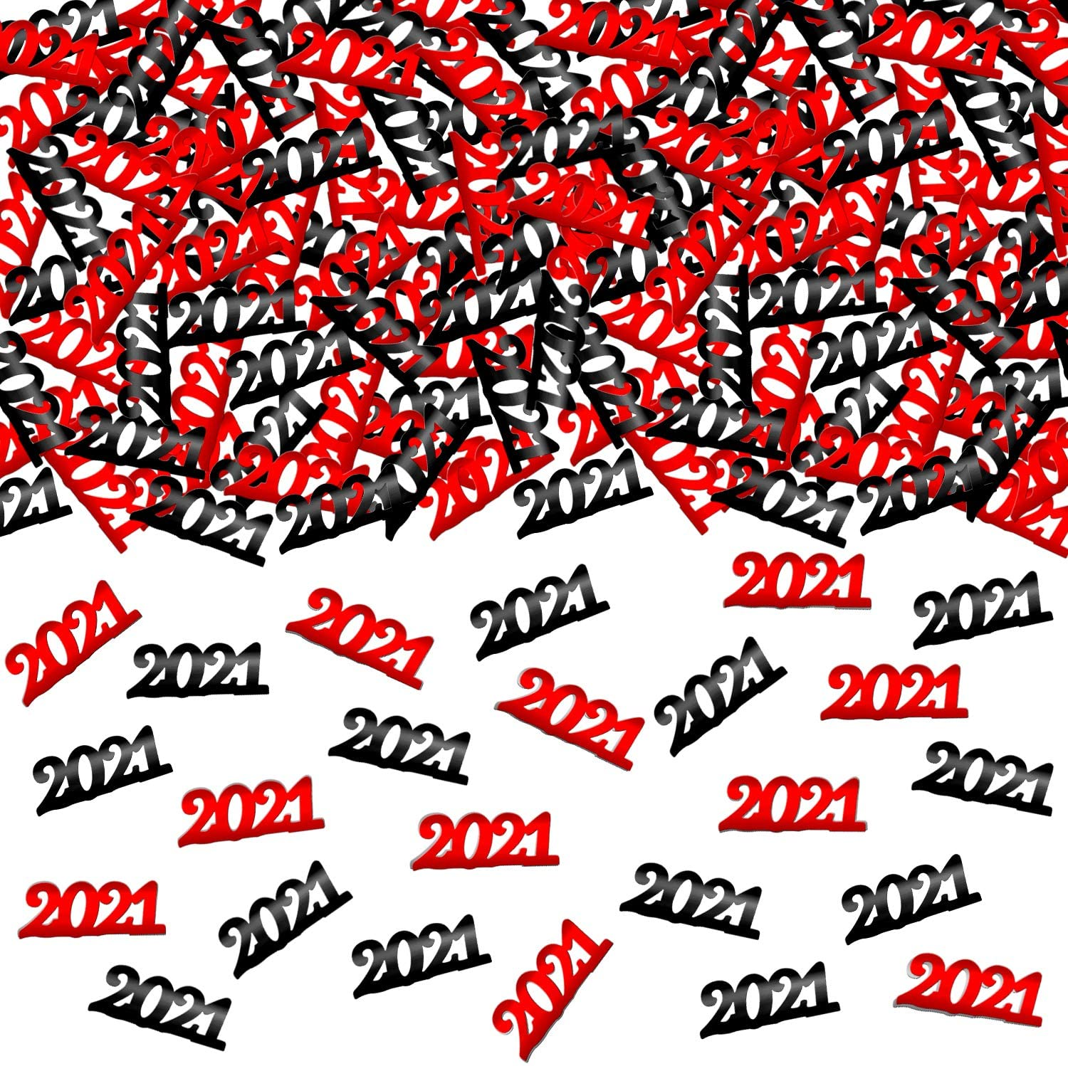Red and Black 2021 Confetti - 1000 Pcs | Confetti 2021 Table Decorations | 2021 Decorations for Graduation,New Year Party | 2021 Graduation Confetti Decorations | Red, Black NYE Party Decorations 2021