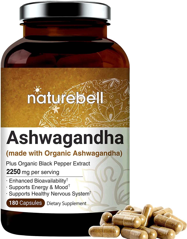Ashwagandha Powder Capsules, 2250mg Per Serving (Made with Ashwagandha Organic Powder and Black Pepper), 180 Counts, Supports Healthy Nervous System, and Brain Health, Premium Ashwagandha Ayush Herbs