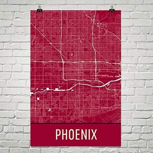 Modern Map Art Phoenix Poster, Phoenix Art Print, Phoenix Wall Art, Phoenix Map, Phoenix City Map, Phoenix Arizona City Map Art,Phoenix Gift,Phoenix Decor,(24 x 36, Red and White)