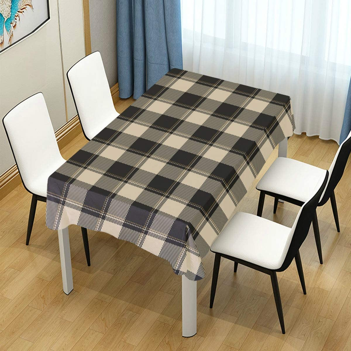ALAZA Buffalo Check Vichy Gingham Plaid Brown Table Cloth Rectangle 60 x 90 Inch Tablecloth Anti Wrinkle Table Cover for Dining Kitchen Parties