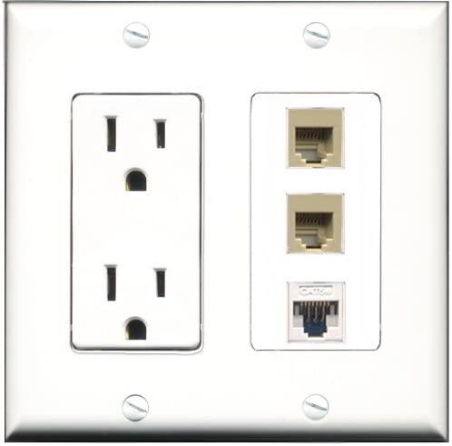 RiteAV - 15 Amp Power Outlet 2 Port Phone Beige 1 Port Cat5e Ethernet White Decorative Wall Plate