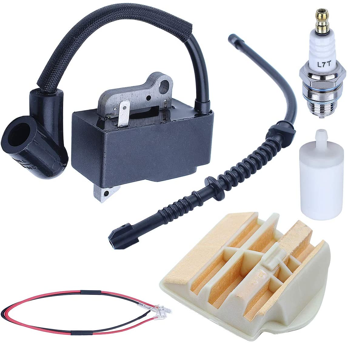 Adefol Ignition Coil Air Filter Fuel Line Kit for Husqvarna 445 450 445E 450E Chainsaw 573935702 544080803