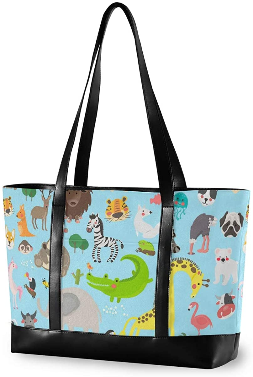 Animal Cartoon World Laptop Tote Bag for Woman 15.6 inch Laptop Organizer Bag Teacher Work Purse(912f)