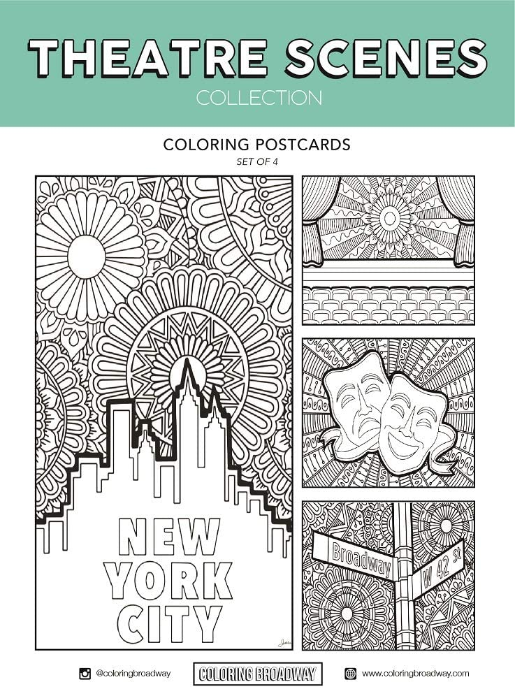 Theatre Scenes Coloring Postcards - Hand-drawn illustrations by Coloring Broadway. Printed on matte card stock. (5