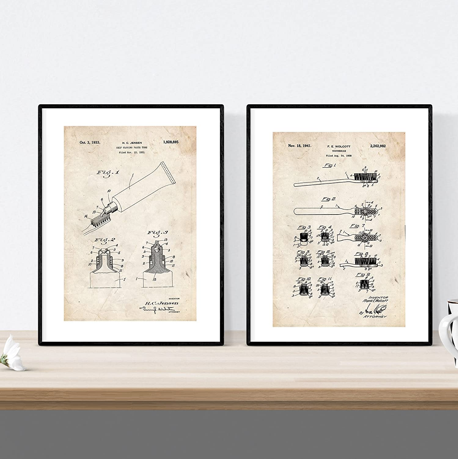 Nacnic Prints Vintage Patents Toothbrush & Toothpaste - Set of 1 - Unframed 8x11 inch Size - 250g Paper - Beautiful Poster Painting for Home Office Living Room