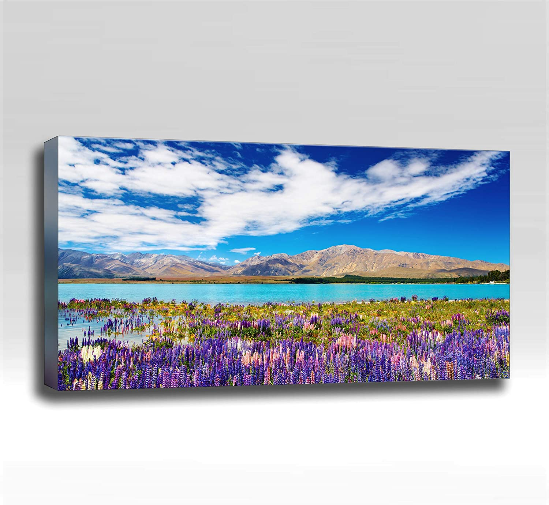 Purple Flowers Mountain River - Ready Made 4'x2'x2