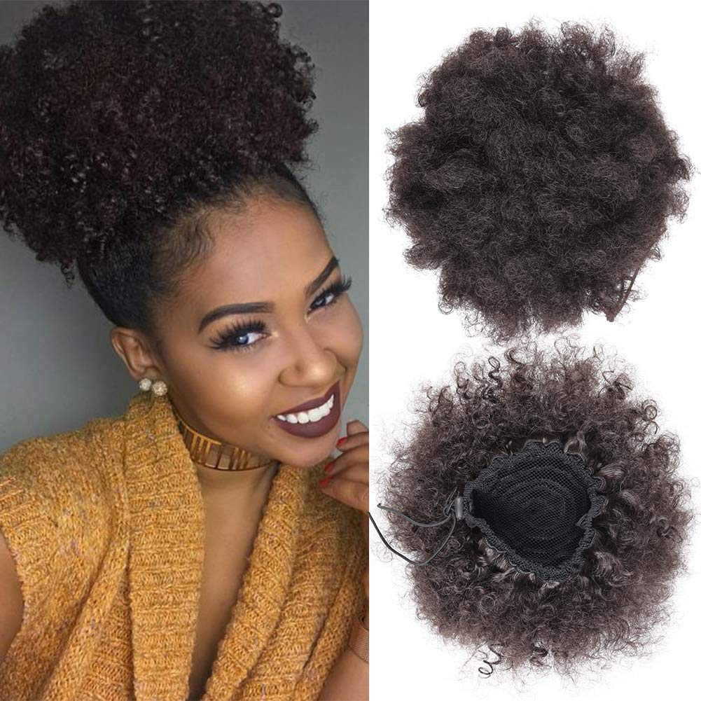 Afro Puff Drawstring Ponytail Bun Synthetic Short Kinky Curly hair Bun Extension Hair pieces Updo Hair Extensions Large Size with Two Clips for Black Women 4#
