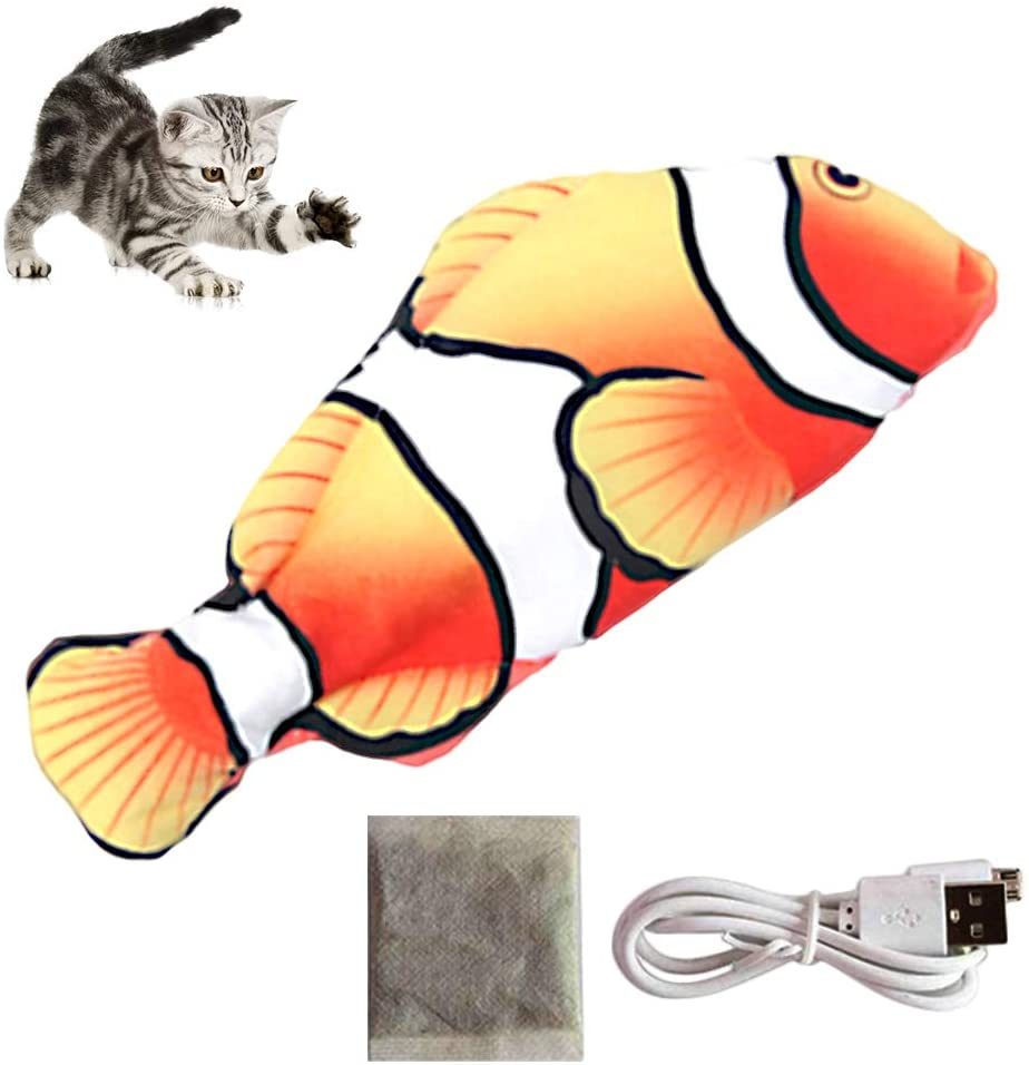Electric Moving Fish Cat Toy,Flapping Fish Interactive Cat Toy,USB Charge Kicker Catnip Toy,Realistic Funny Pets Chew Bite Fish Flopping Dancing Wagging Toy Perfect for Cat/Kitty/Kitten (Clownfish)