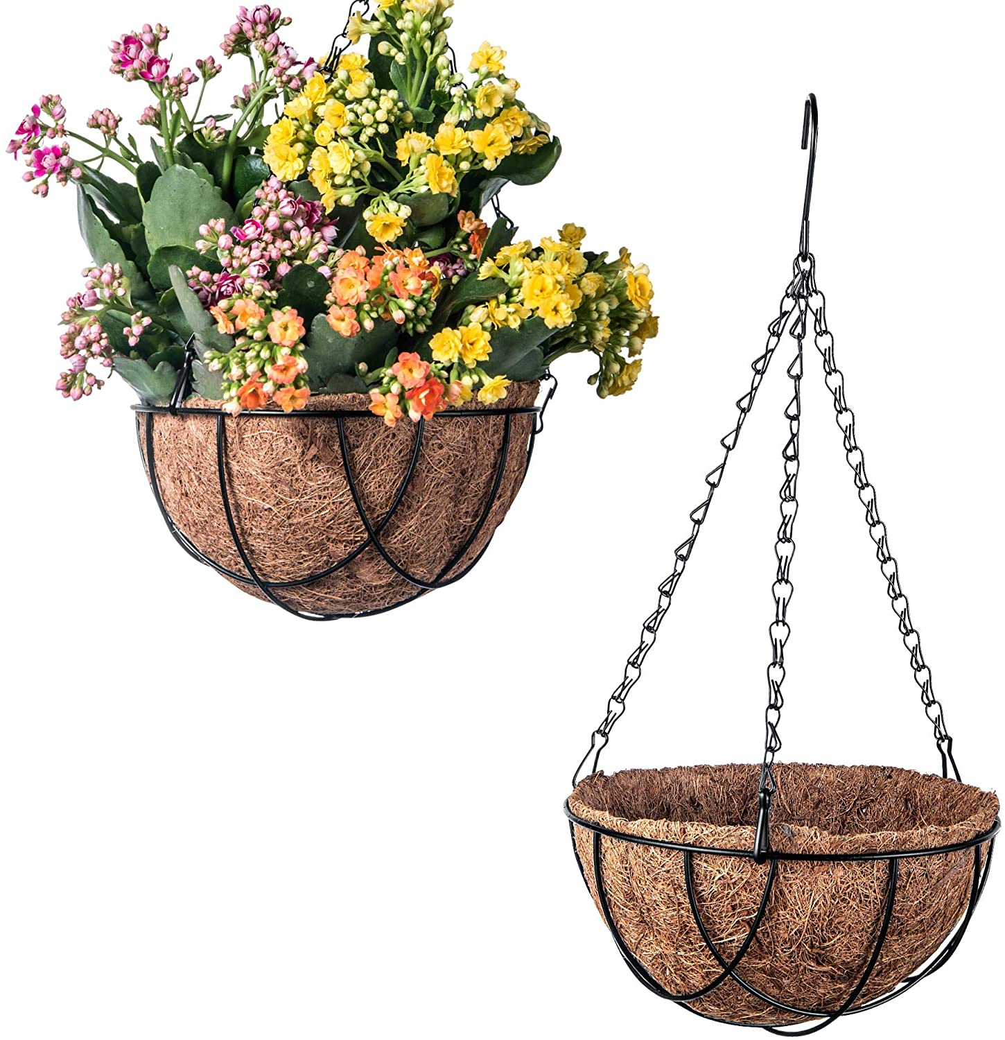 3 Pack Metal Hanging Flower Pots Hanging Planters Plant Basket with Coco Fiber Liners (10 Inch, B-Black)