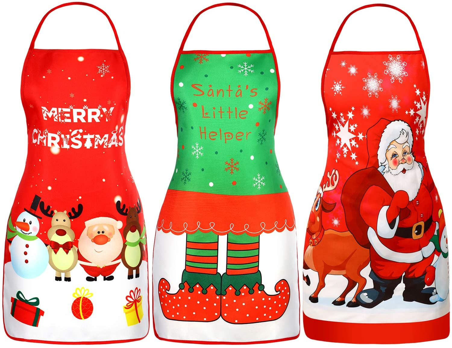 Geyoga 3 Pieces Christmas Aprons Adult Elf Aprons Santa Apron Adjustable Kitchen Cooking Apron for Christmas Party Chef Cooking Restaurant House Cleaning Gardening Home