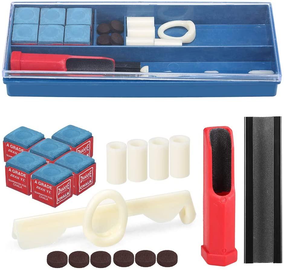 Roeam 20-in-1 Billiard Repair Kit Cue Tip Repair Tool Billiard Chalk Pool Cue Tips Cue Stick Ferrules Cue Tip Clamp Cue Tip Trimmer Included