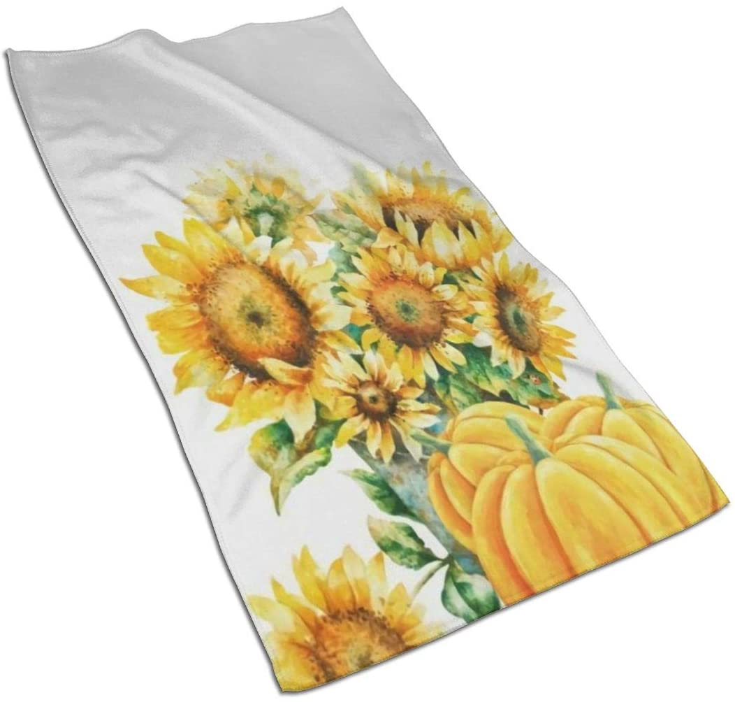 antcreptson Fall Sunflower Hand Towels Autumn Pumpkins Face Towel Ultra Hand Towels 16x30 in, Thin Bathroom Towel, Ultra Soft Highly Absorbent Small Bath Towel Bathroom Decor