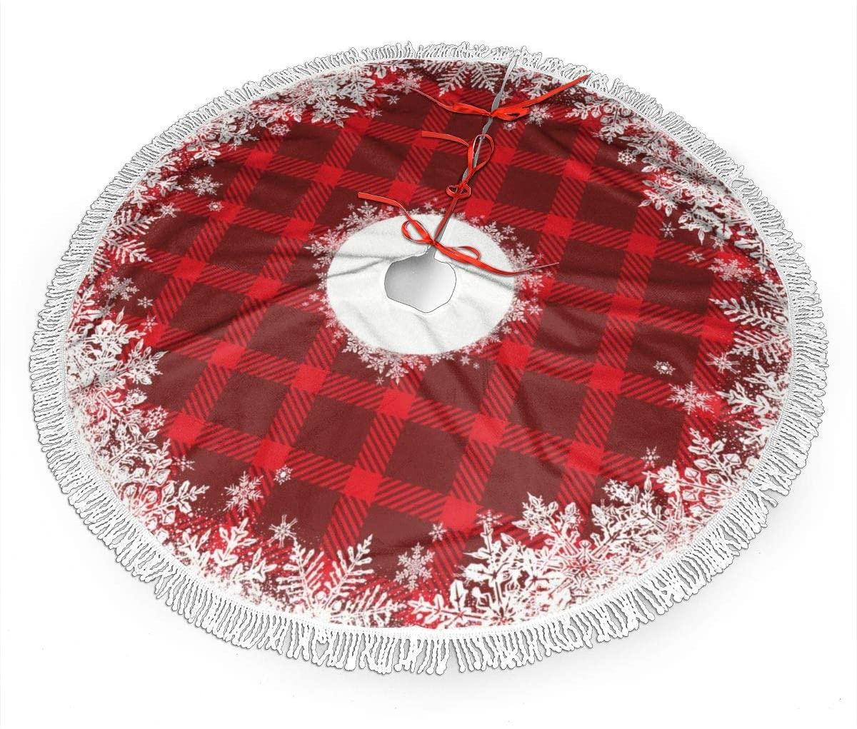 ASO-SLING Soft Merry Christmas Tree Skirt with Tassel Rustic Tartan Plaid Snowflake Thick Tree Decor Carpet Xmas Holiday Party Ornaments Holiday Christmas Tree Decoration