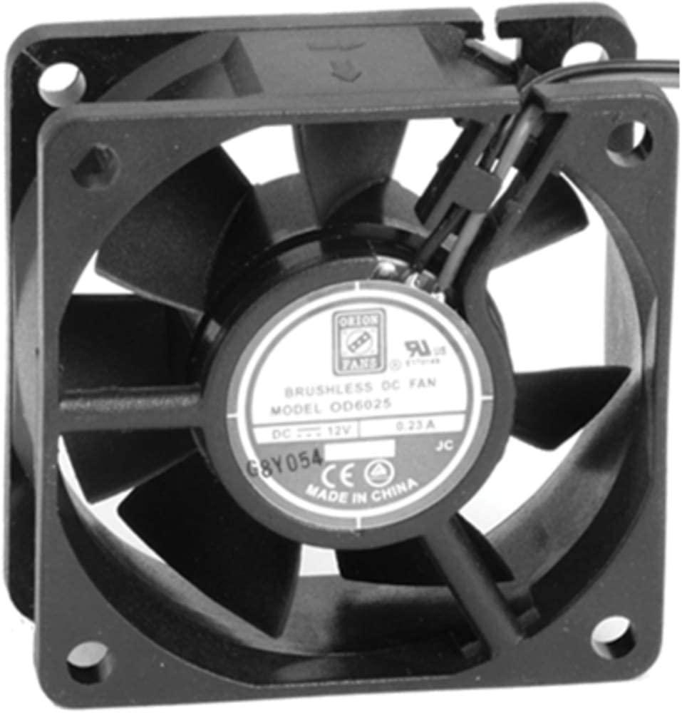 Fan; DC; 12V; 60x60x25mm; Sq; 24CFM; 35dBA; 4500RPM; Ball; Wire Leads, Pack of 2