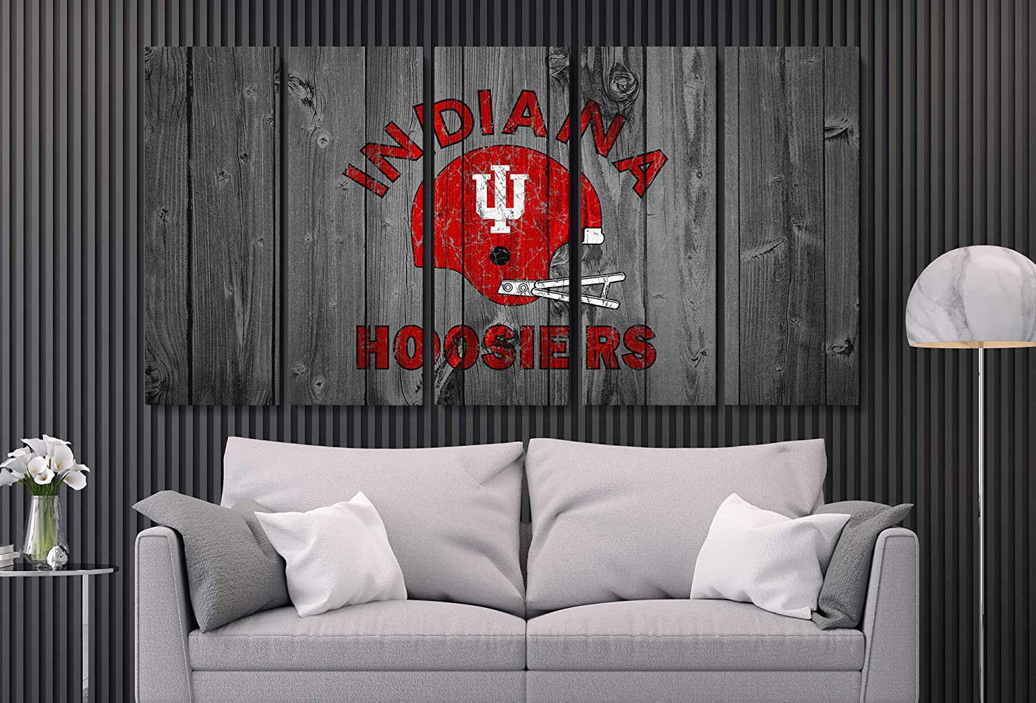 Indiana Hoosiers American Football College University Team Art Decor Wall Poster Canvas Print. Ready to Hang. Made in USA (5 Piece Mega)