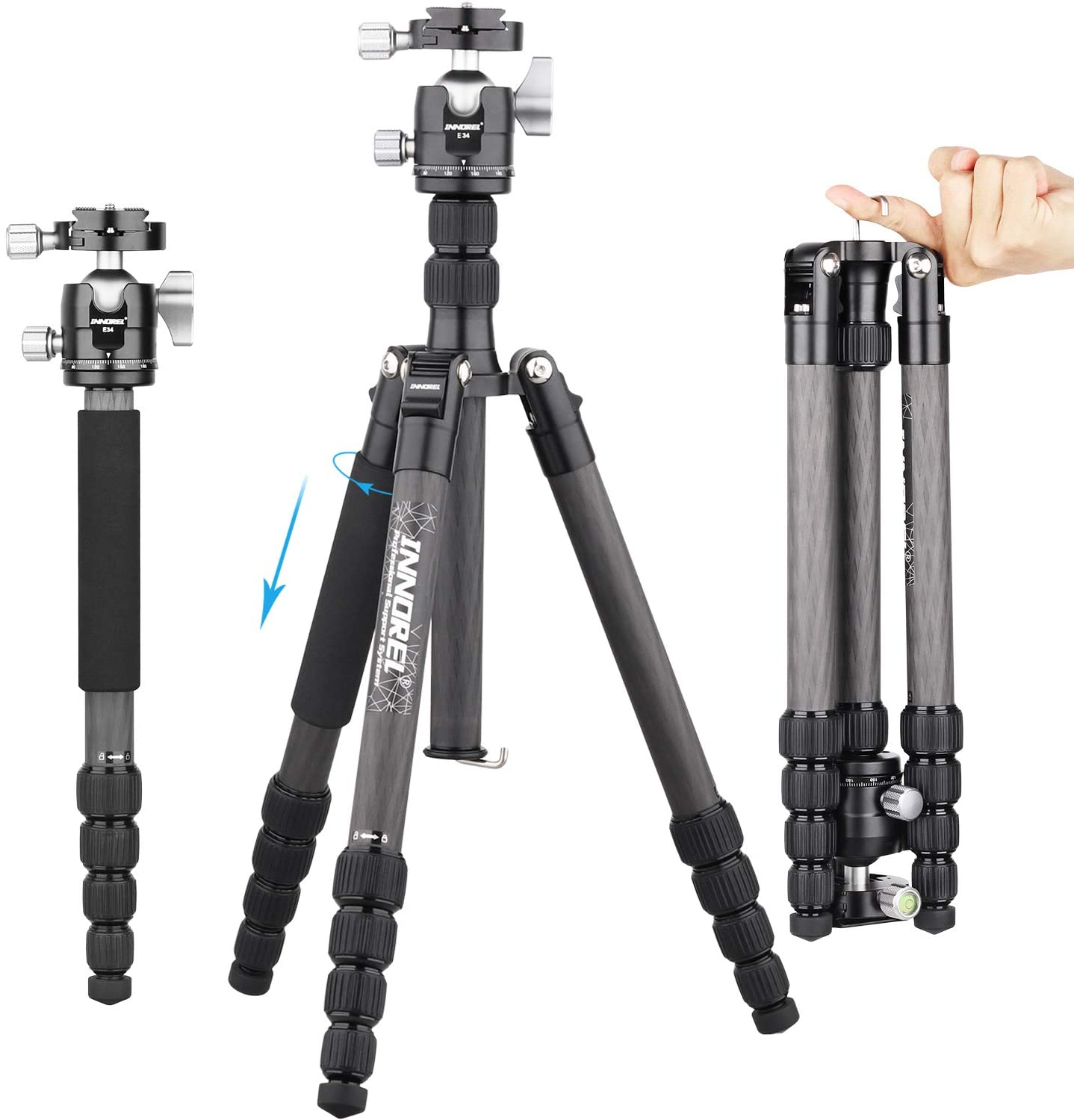 10 Layers Carbon Fiber Travel Tripod Monopod-INNOREL RT55C with Low Gravity Center Ball Head 360 Degree and Carrying Case Professional Lightweight Compact Tripods for Digital Camera Camcorder DSLR