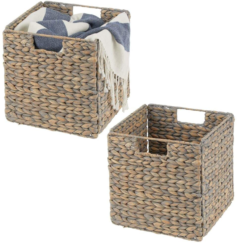 mDesign Natural Woven Hyacinth Closet Storage Organizer Basket Bin - Collapsible - for Cube Furniture Shelving in Closet, Bedroom, Bathroom, Entryway, Office - 10.5 Inches High, 2 Pack - Natural/Tan