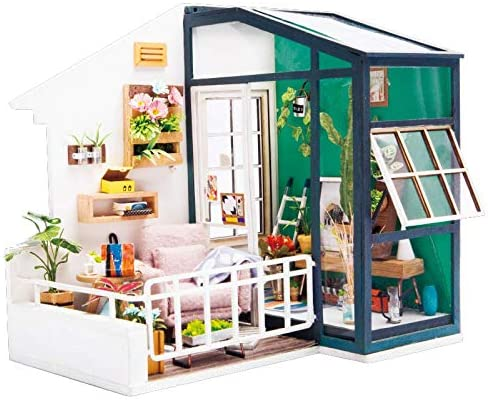 RoWood DIY Miniature Dollhouse Kit, Wooden Mini House Set with Furniture and Accessories - Fancy Balcony