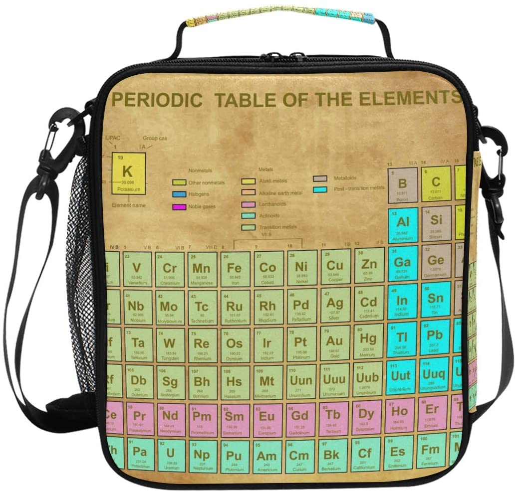 JOYPRINT Lunch Box Bag Periodic Table Of The Elements Chemistry Lunchbox Insulated Thermal Cooler Ice Adjustable Shoulder Strap for Women Men Boys Girls