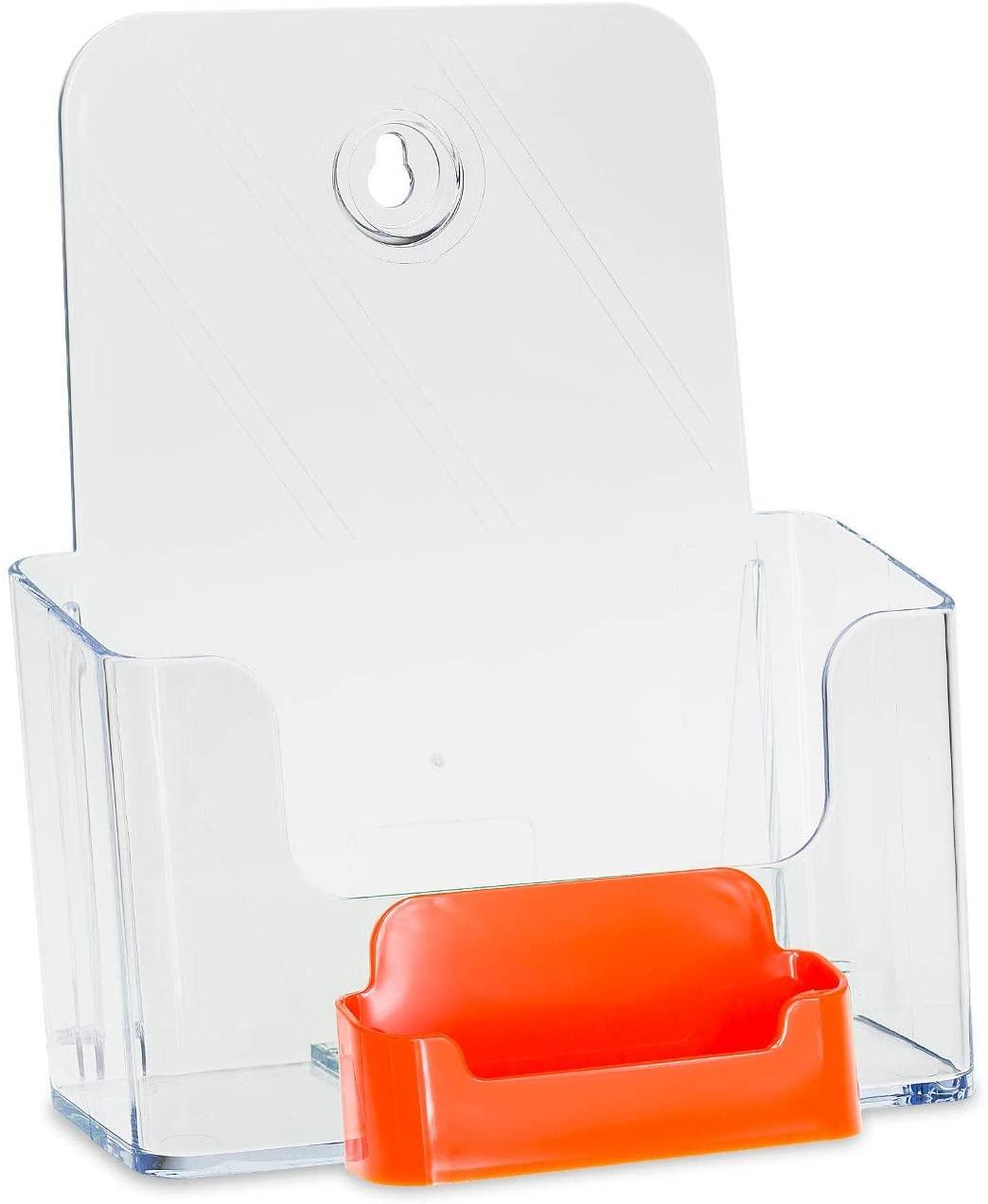 Source One Bi Fold Brochure Holder Standard Booklet with Business Card Holder (6 Pack, Orange Pocket)