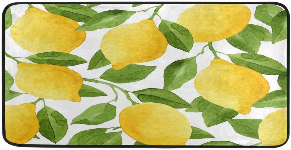 ALAZA Yellow Lemon Leaf Non Slip Kitchen Floor Mat Kitchen Rug for Entryway Hallway Bathroom Living Room Bedroom 39 x 20 inches(1.7' x 3.3')