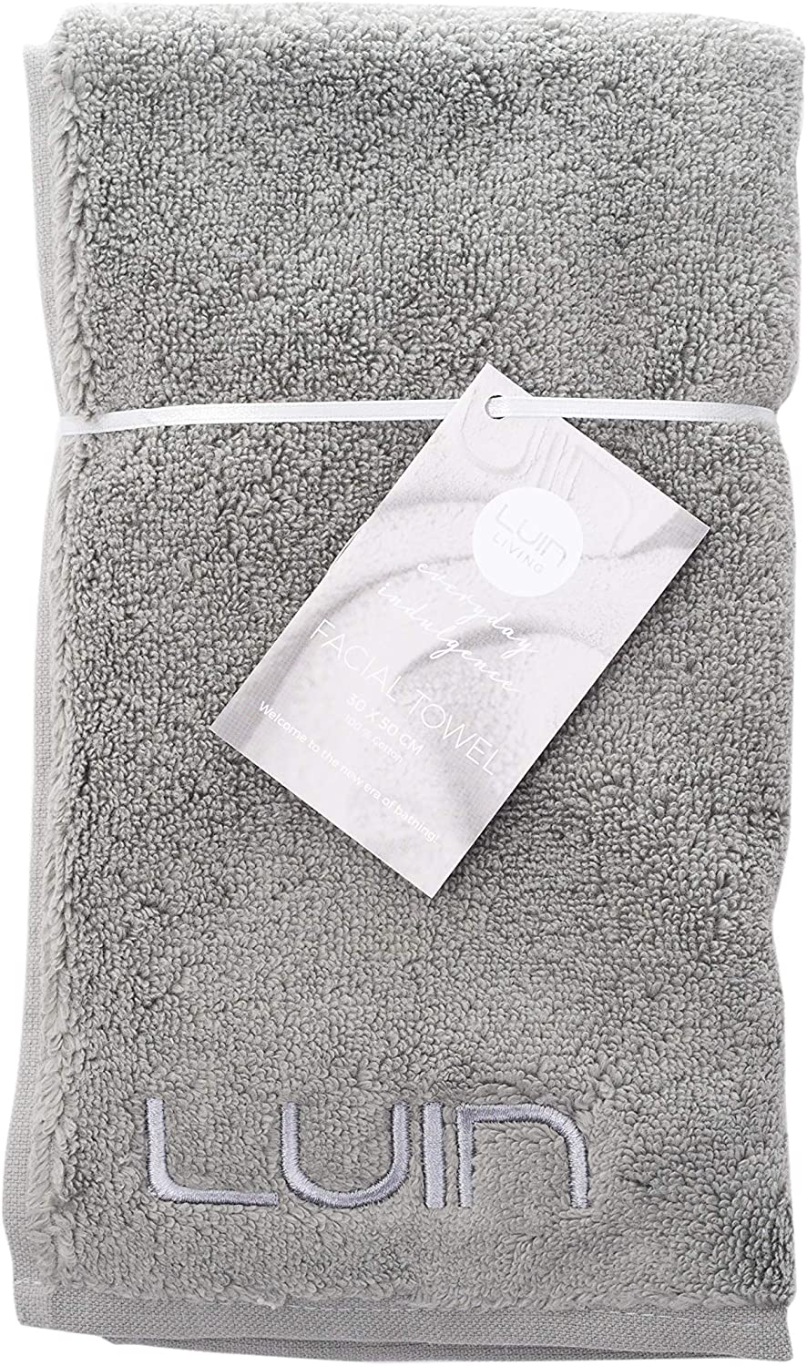 Luin Living Luxury Soft Turkish Cotton Facial Towel, 12 x 20 Inches, Granite