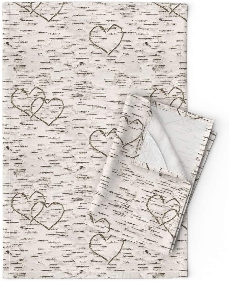 Roostery Tea Towels, Rustic Love Woodland Neutral Nursery Woods Carved Hearts Camping Modern Decor Print, Linen Cotton Tea Towels, Set of 2