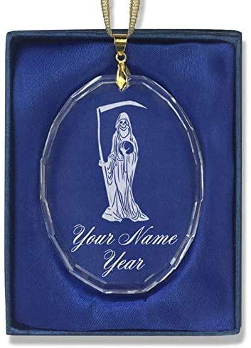 LaserGram Christmas Ornament, Santa Muerte, Personalized Engraving Included (Oval Shape)