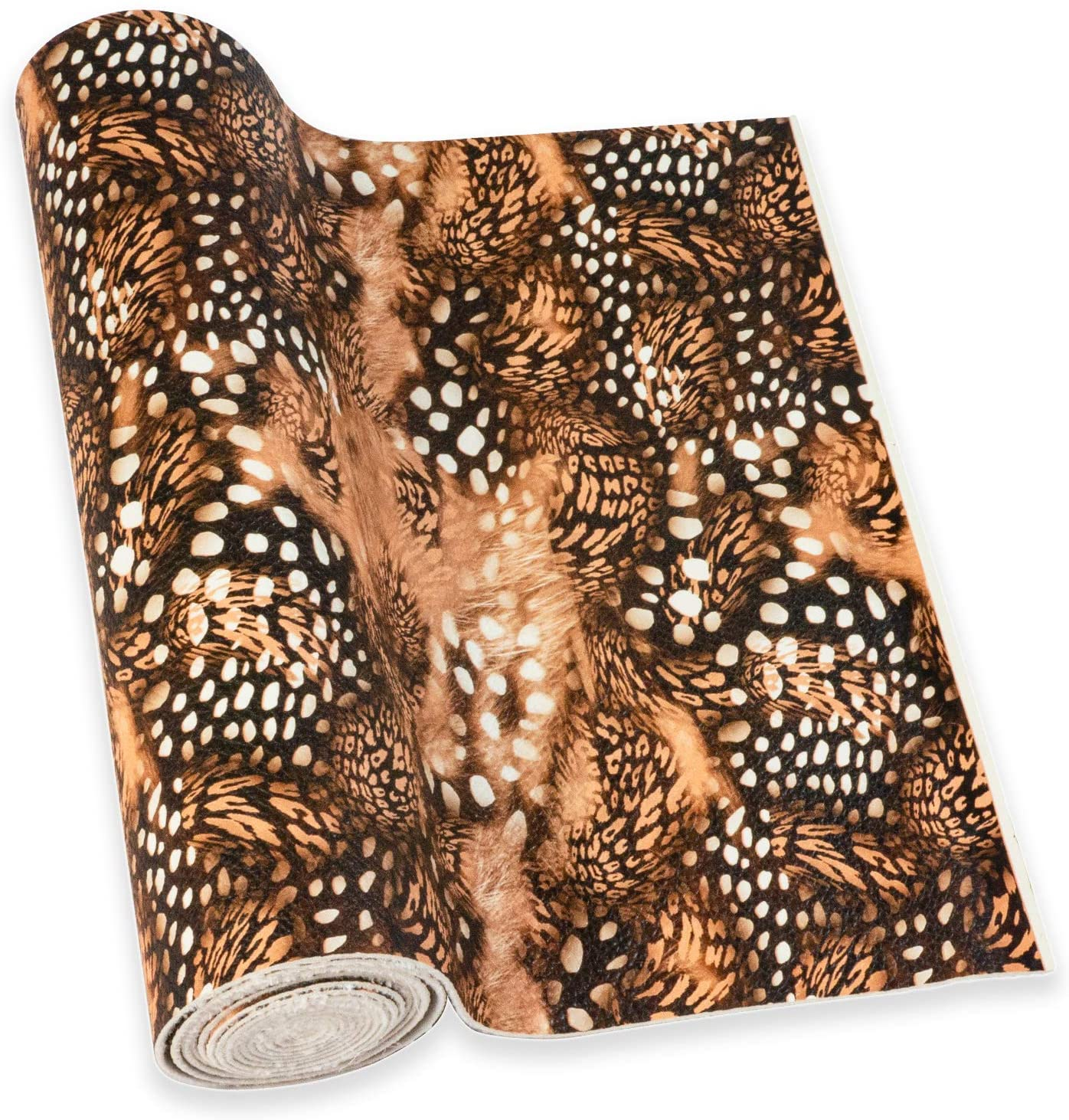 Caxilee Single Roll Brown Faux Leather Sheets Leopard Printed Synthetic PU Fabric, Large Size 8.3 x 53(21 x 135 cm), Used for Leather Craft DIY Project Hair Accessories (Brown Roll-2)