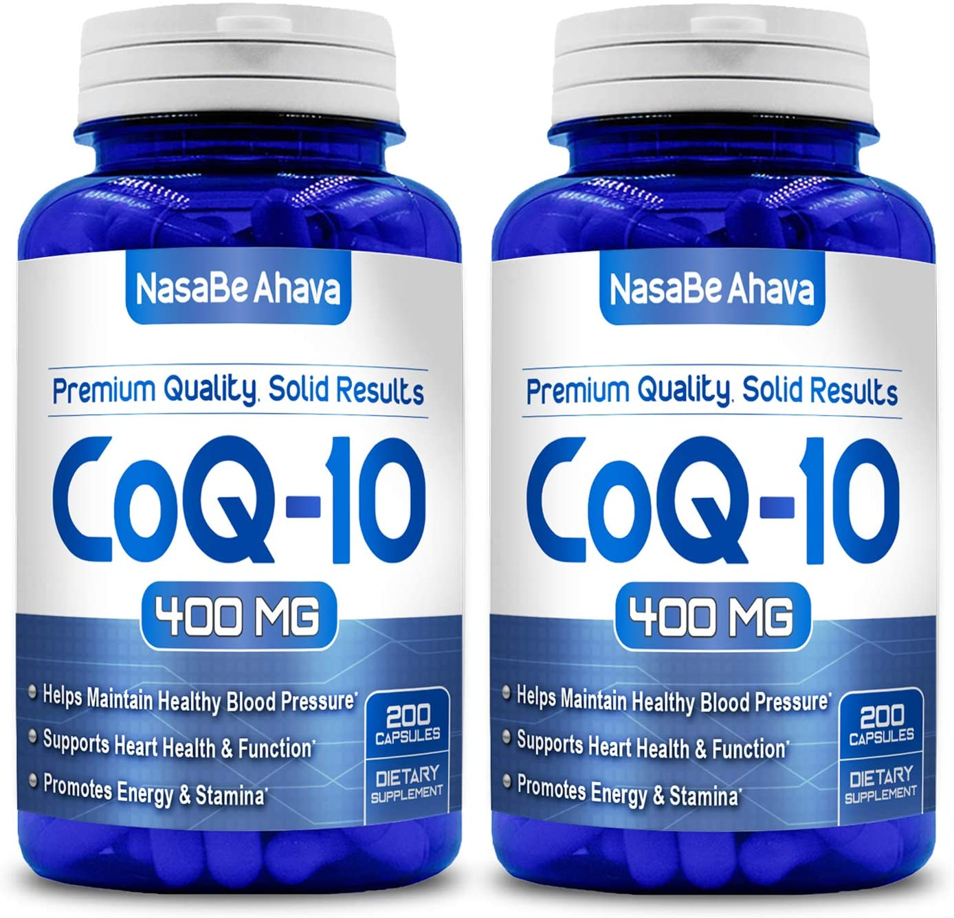 NASA Beahava Pure CoQ10 400mg Per Serving - 400 Capsules Supports Heart Health & Helps Maintain Healthy Blood Pressure, 2 Pack (400 Capsules) -USA Made