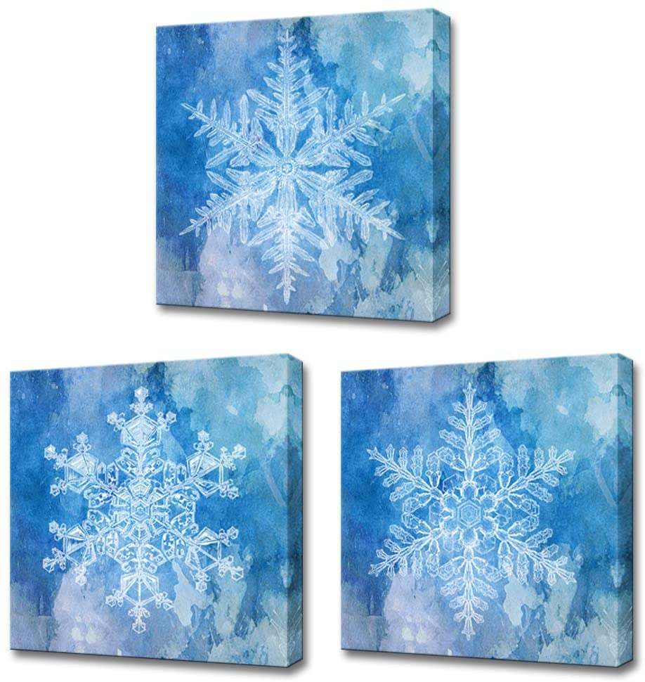 LoveHouse 3 Piece Winter Theme Snowflake Canvas Wall Art Abstract Blue Snow Flower Picture Print on Canvas Framed Wall Decor for Living Room Bedroom Ready to Hang 12x12inchx3pcs
