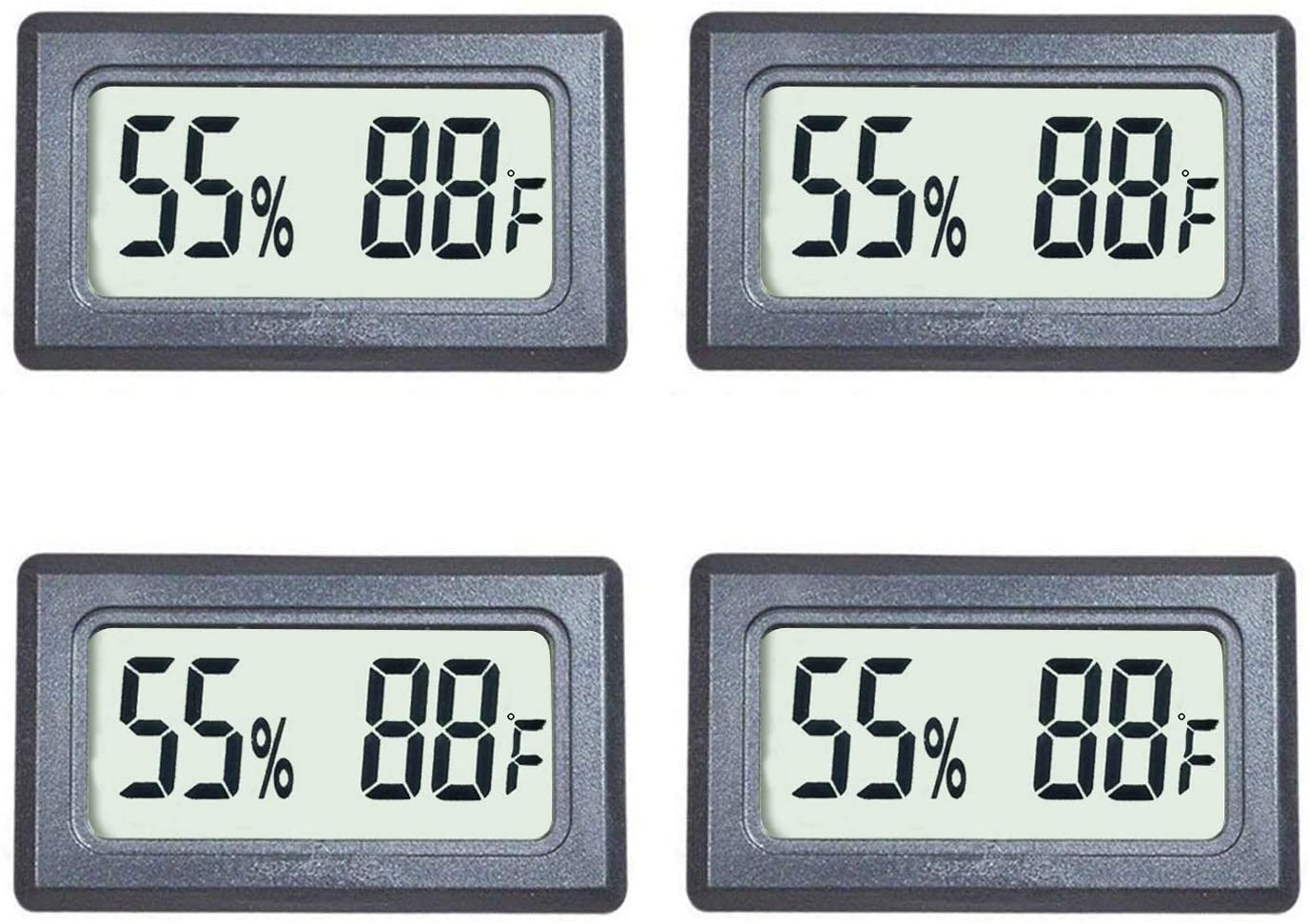 Kinyanco 4-Pack Mini Hygrometers Thermometer with Large Number Display Fahrenheit (℉) Humidity and Temperature Meters for Home Office Humidors Jars Incubators Guitar Case …