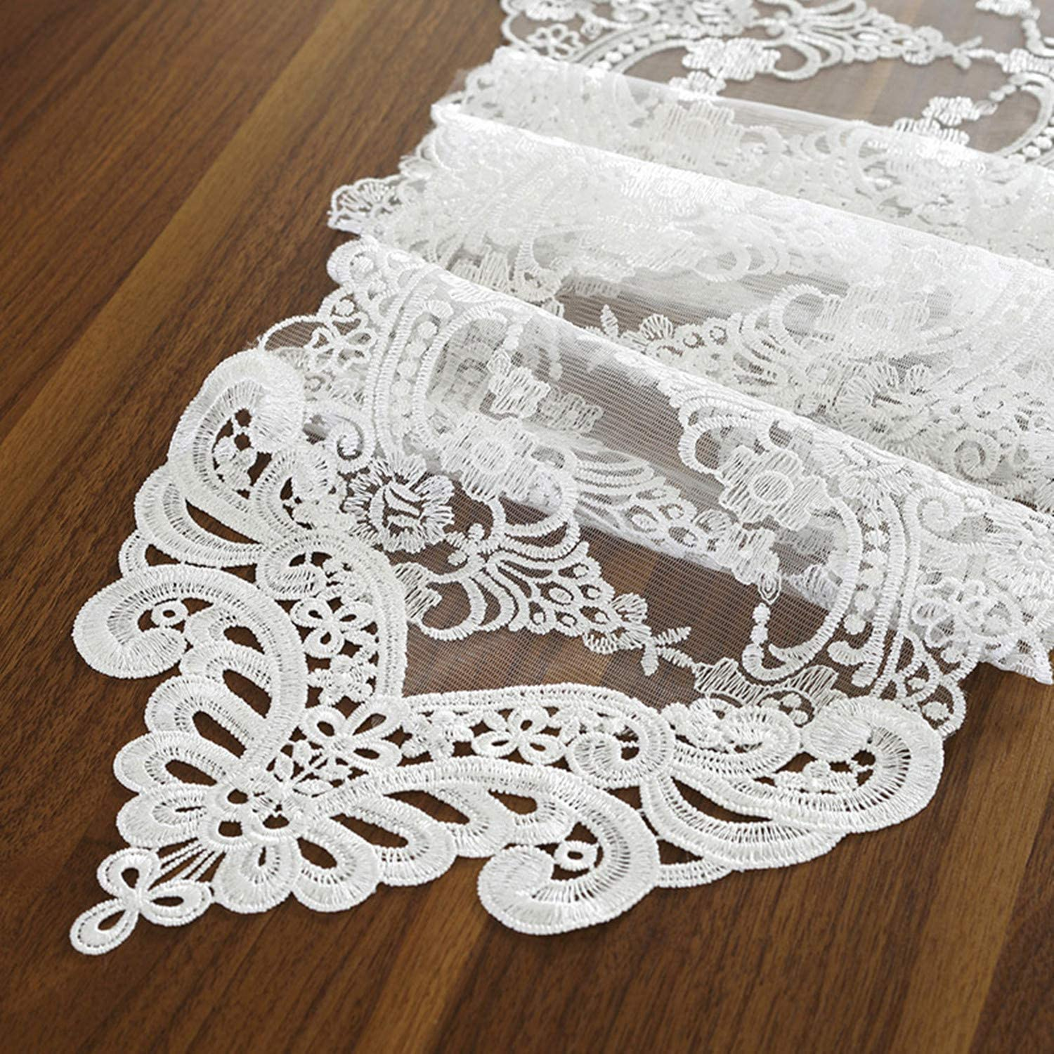 Bettery Home Lace Table Runner and Dresser Scarf Embroidered Flower White Table Runner 10 x 28 Inches Wedding Party Baby Shower Dining Table Decor