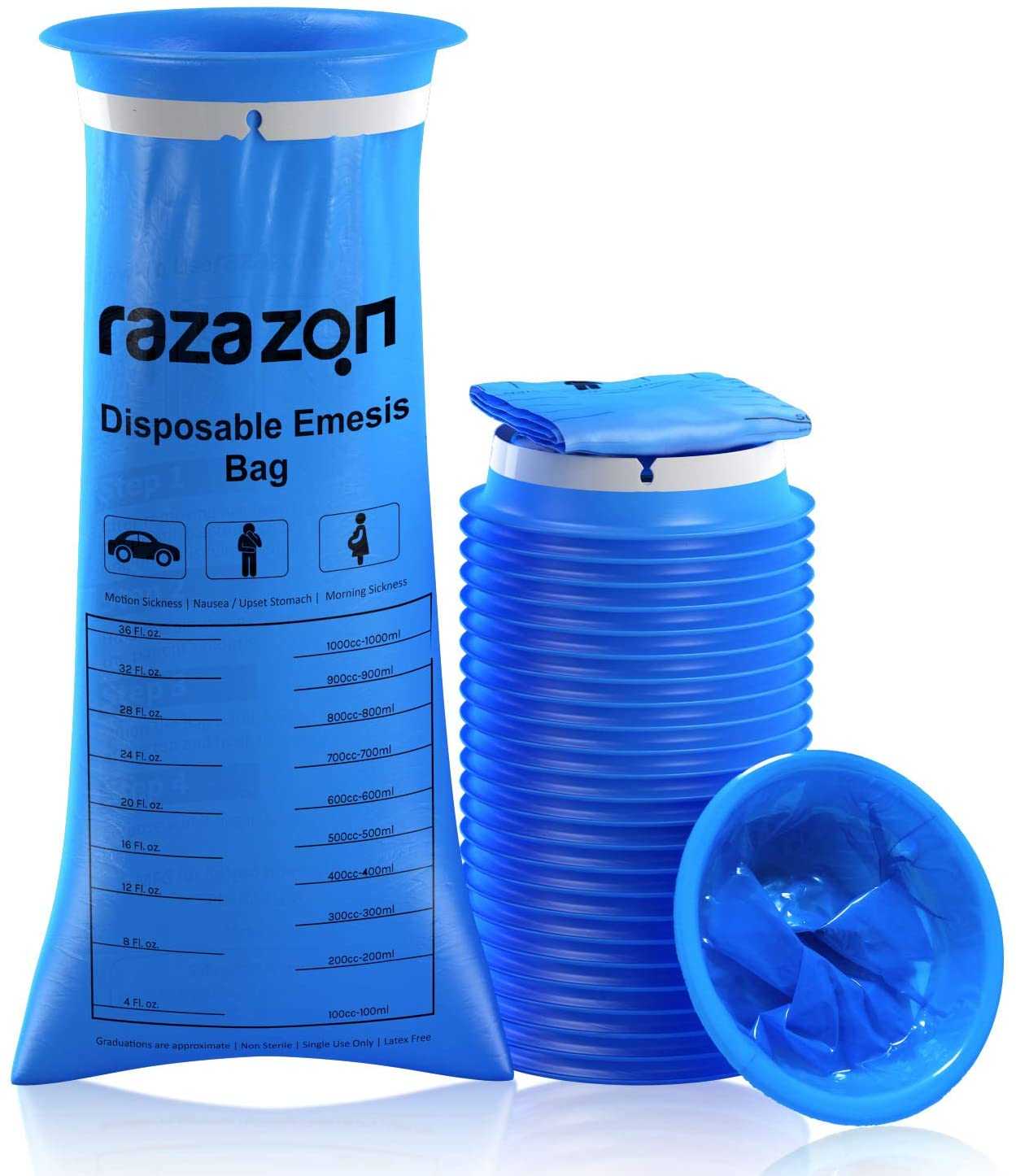 RAZAZON Emesis Vomit Bags Disposable - Pack of 24 - Motion Sickness & Nausea Bags for Kids & Drivers, Morning Sickness Barf Bags (24)