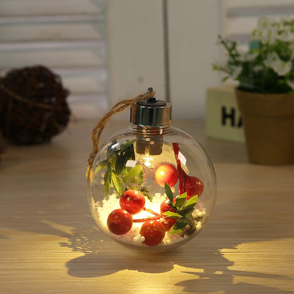 CADE Christmas Decoration Bulb LED Colored Light Bulb Shaped Glass DIY Decoration Xmas Hollow Glass Ball Ornaments Christmas Tree Pendant Gift