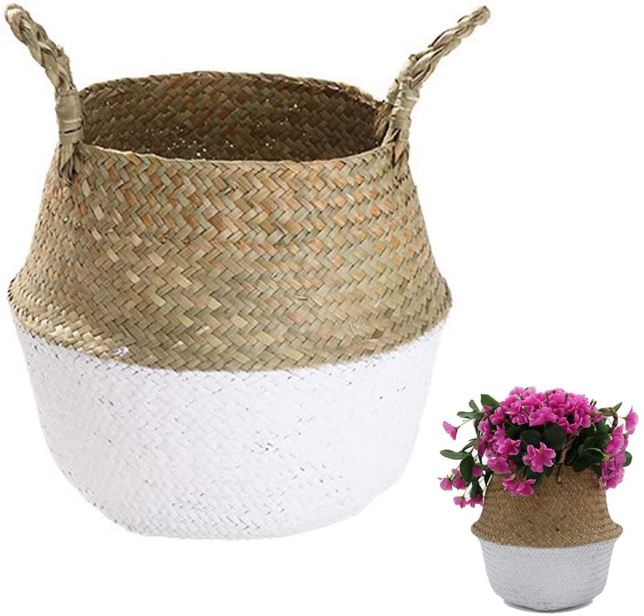 Handmade Woven Rattan Seagrass Tote Belly Basket, Plant Pots Cover Indoor Decorative, Also for Storage, Laundry, Picnic and Garden Flower Vase (Small, White)