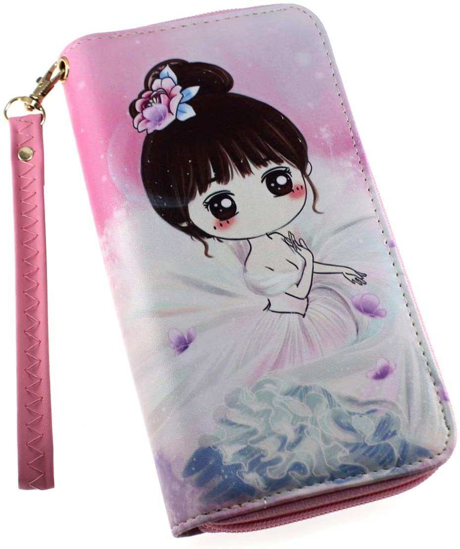 Korean Style PU Leather Cute Girl Zipper Wallet Cash Coin Long Purse Card Holder for Girls & Women (Style #7)