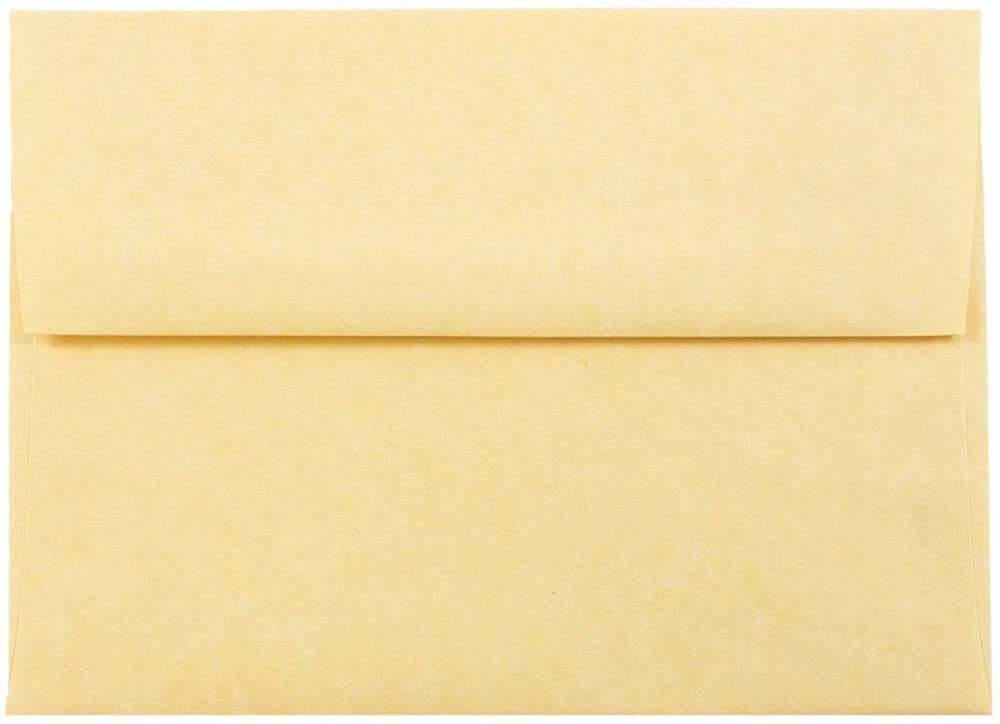 JAM PAPER A7 Parchment Invitation Envelopes - 5 1/4 x 7 1/4 - Antique Gold Recycled - 50/Pack
