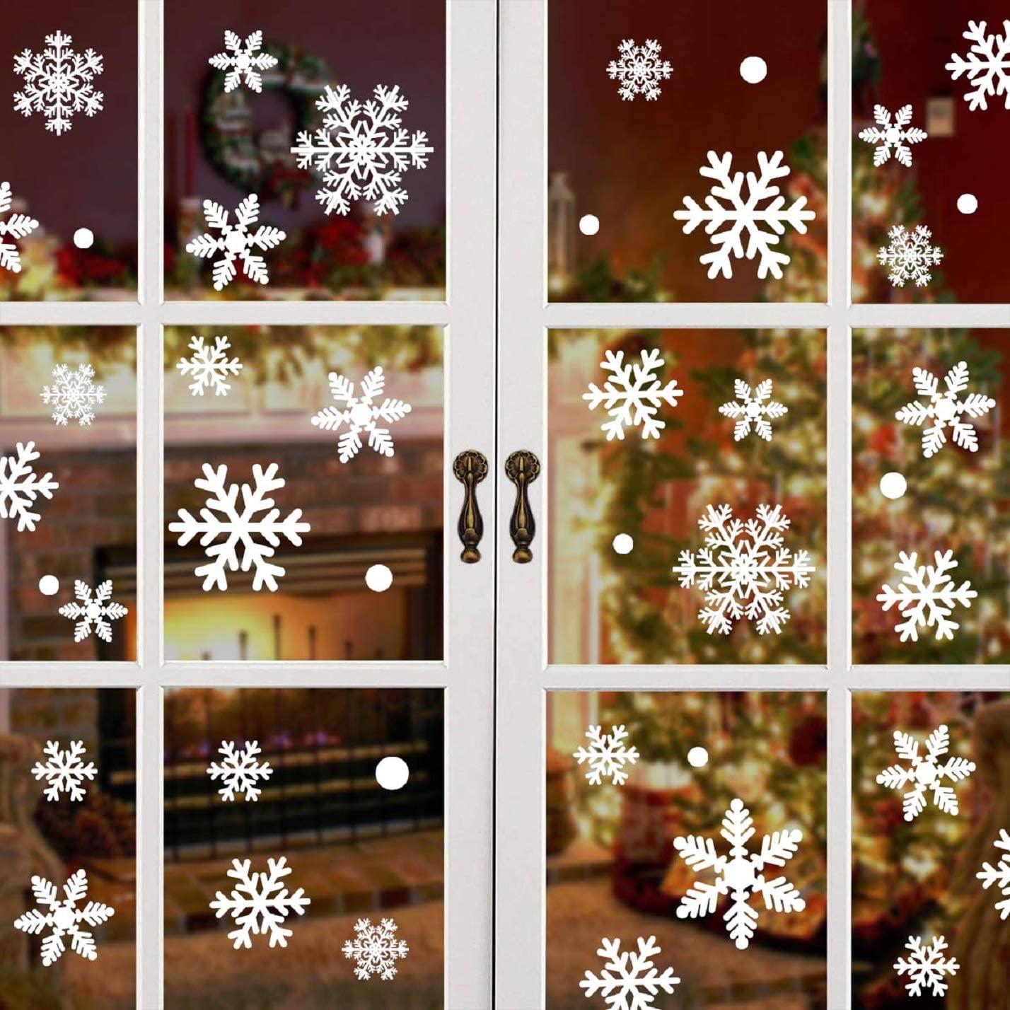 heekpek 15 Sheets 270 PCS Christmas Snowflake Window Clings Decal Christmas Descoration Xmas Window Sticker Winter Wonderland Frozen Party for Glass Door Mirror Wall Manual Decals