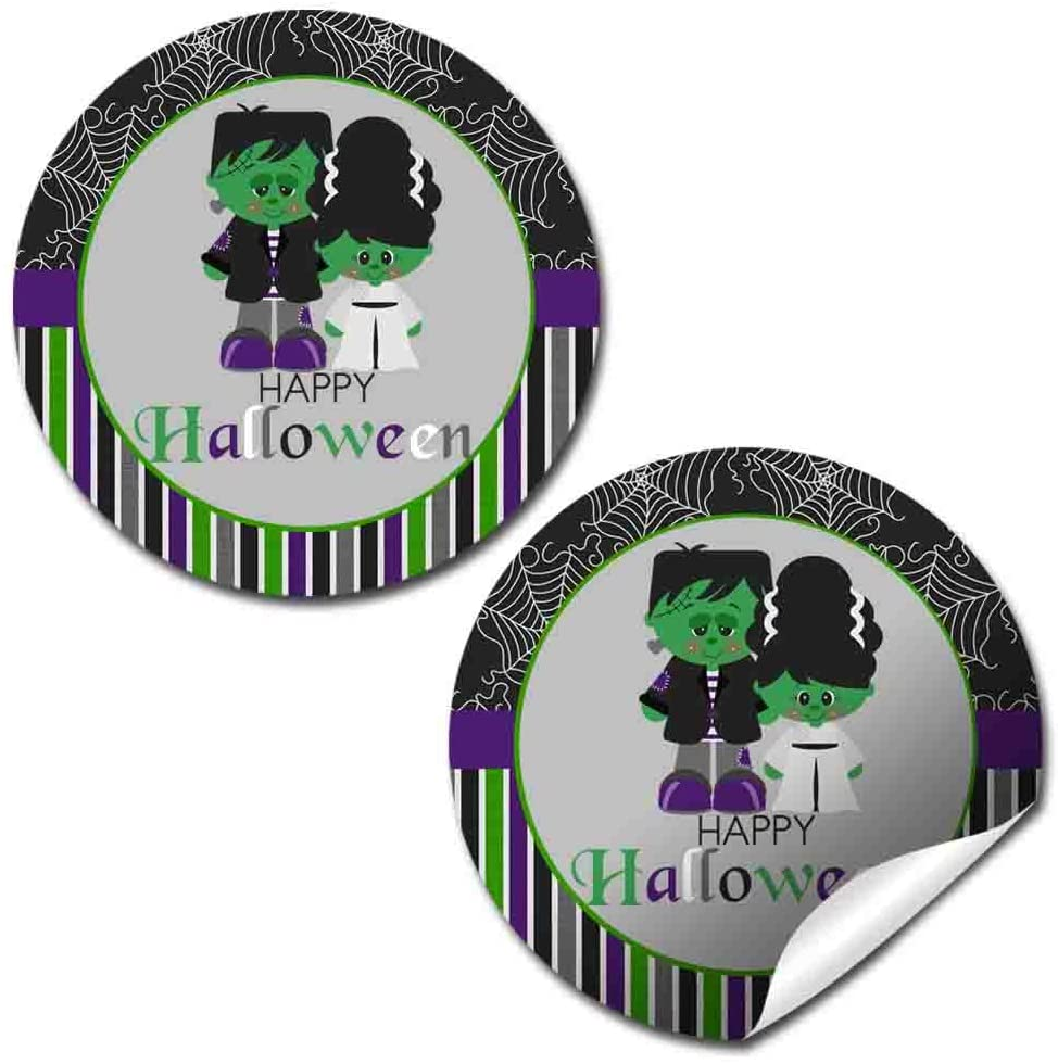 Frankenstein and Bride Halloween Party Thank You Sticker Labels, 40 2 Party Circle Stickers by AmandaCreation, Great for Party Favors, Envelope Seals & Goodie Bags